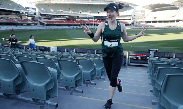 Stadium Stomp Adelaide Oval Stair Challenge peace sign